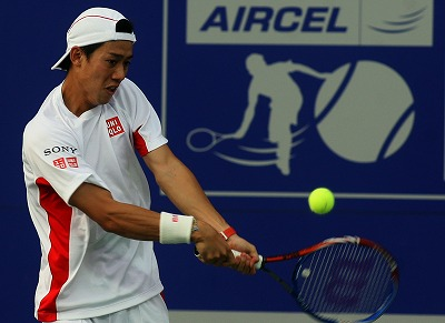 Kei Nishikori in action on 3.1.2011 at Chennai.jpg